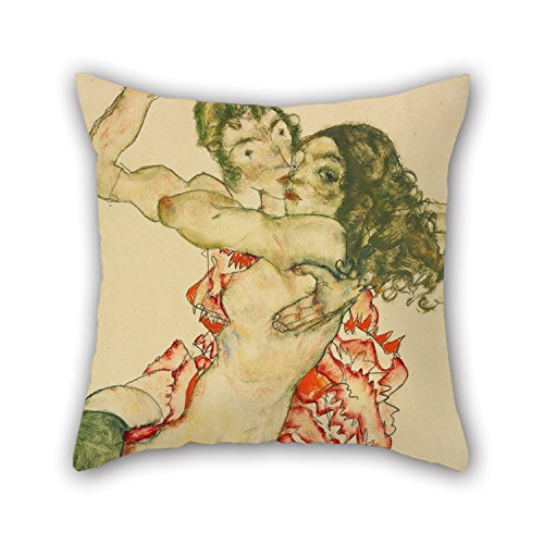 Artistdecor Throw Christmas Pillow Case Of Oil Painting Egon Schiele - Two Women Embracing For Bar Christmas Club Bar Seat Deck Chair Father 16 X 16 Inches / 40 By 40 Cm(two Sides)