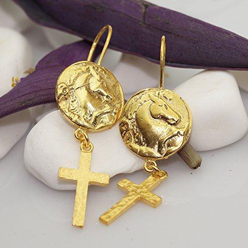 925 Sterling Silver Horse Coin Earrings 24k Yellow Gold Vermeil Handcrafted Jewelry Women Earrings Ancient Roman Art (Roman Coin Earrings)