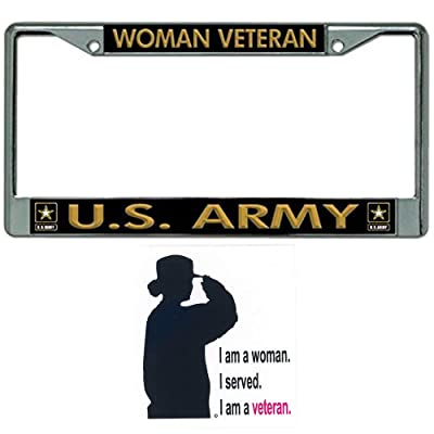 Woman Veteran U.S. Army License Plate Frame Bundle with Woman Veteran Decal: Automotive