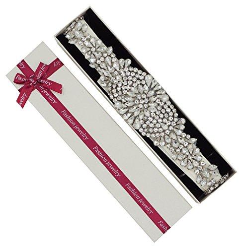 Lovful Crystal Rhinestone Bridal Wedding Dress Sash Belt With Ribbon, Ivory