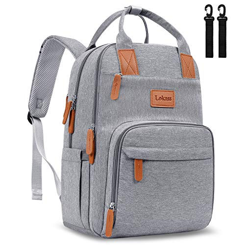 UtoteBag Diaper Bag Backpack Anti-Thief Maternity Baby Nappy Bag with Removable Stroller Straps Multifunction Travel Backpack with Laptop Pocket, Luggage Strap for Boys Girls Women Men(15 inch,Grey)