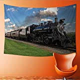Printsonne Horizontal Version Tapestry Historic Steam Train Passes Through The Fields Throw, Bed, Tapestry, or Yoga Blanket 84W x 54L Inch