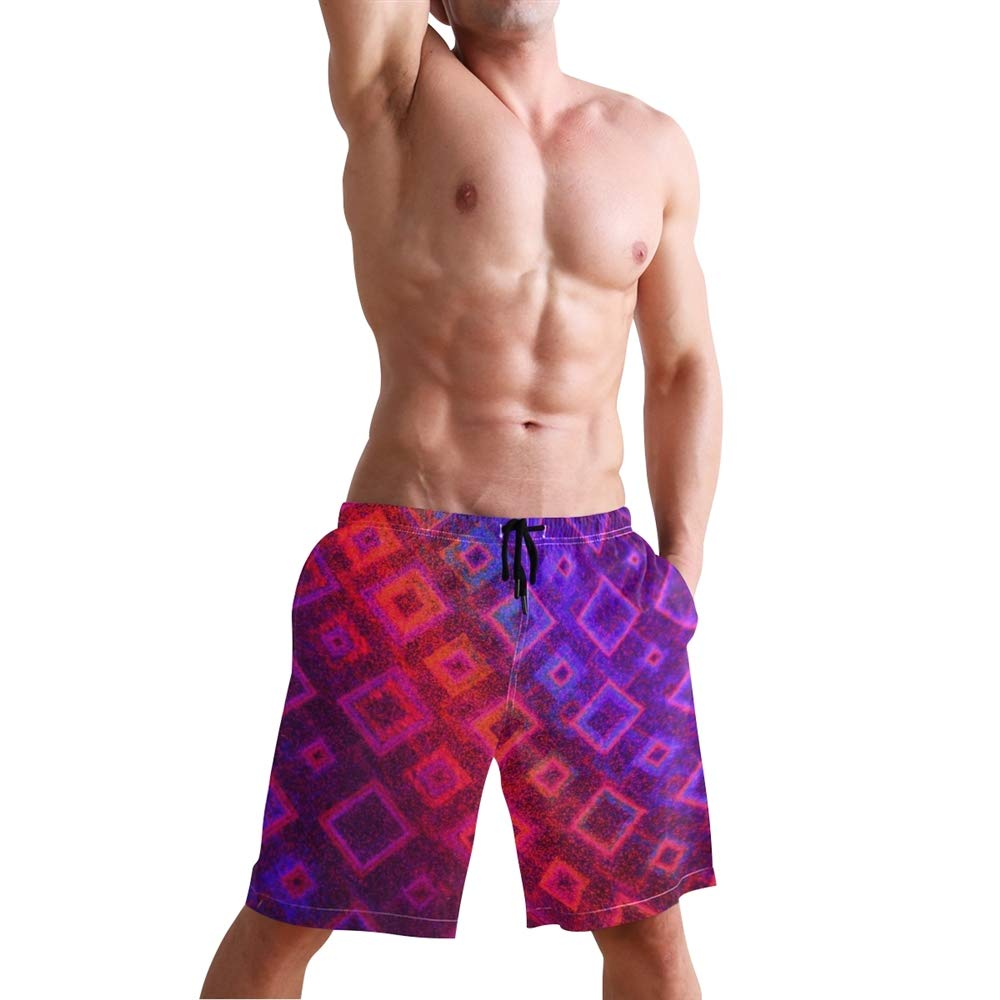 Mens Red Purple Box Swimming Trunk Surf Shorts Beach Swimsuits