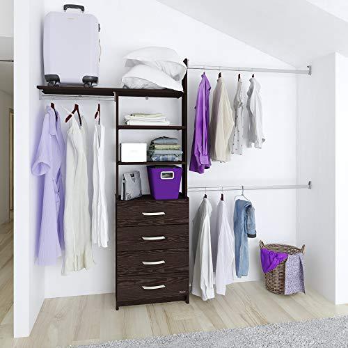 Closet armable organizador Máximo con cajonera 4 cajones ancho máximo de 245 cm (Chocolate)