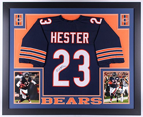 Devin Hester Signed Bears 35x43 Custom Framed Jersey (JSA COA) 4x Pro ()