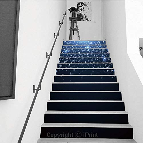 Self-Adhesive Stair Riser Decal - Stair Stickers Decals Wallpaper for Walls Kitchen Bathroom Stair Decals Home Decorations,13 PCS,Falling Down gems Shiny Diamonds Expensive Jewelry Vector Background