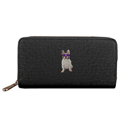 Palm Tree French Bulldog Women Wallet Clutch Zipper Long Holder Wallet
