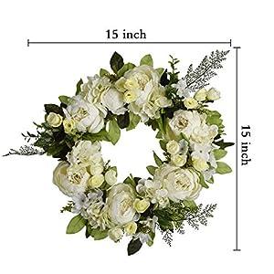 "16"" Peony Hydrangea Wreath,Artificial Peony Flower Wreath Door Wreath with Green Leaves Spring Wreath for Front Door,Wedding,Wall, Home Decor 5"