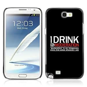 CQ Tech Phone Accessory: Carcasa Trasera Rigida Aluminio Para Samsung Galaxy Note 2 N7100 - Funny Drink Moderation Alcohol Sign