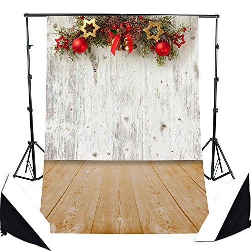 DODOING 3x5ft Village Christmas Bell/Balls/Stars Photography Background Backdrop Wooden Wall Floor for Photo Studio Props 0.9x1.5m]()