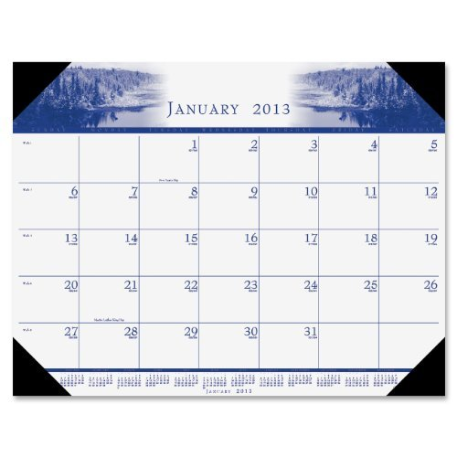 House of Doolittle Mono-Color Photo Monthly Desk Pad Calendar, 2013, 22 x 17, Black Corners by House of Doolittle