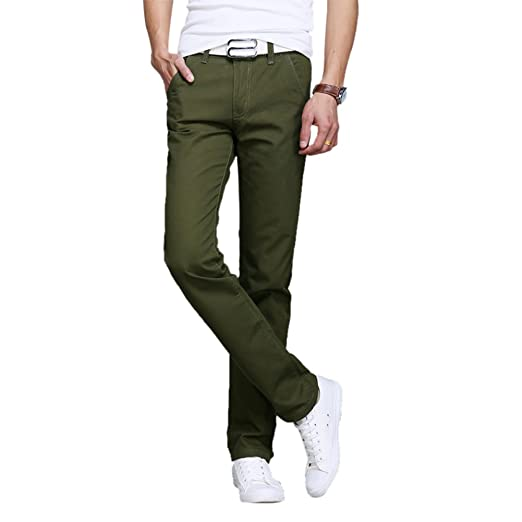 df146d859972 Uwback Casual Pants Men Summer Straight Tight Trousers Breathable Army Green  28