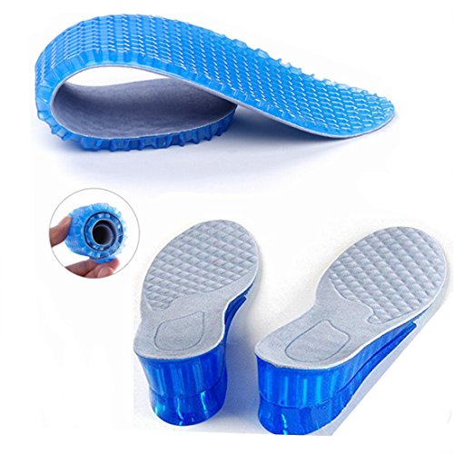 Kalevel Adjustable Breathable 5cm Approximately 2 Inches Taller 2-layer Height Adjustable Height Pure Silicone Invisible Increased Insoles Shoe Lifts Shoe Pads Elevator Insoles for Women - One Pair (Blue)