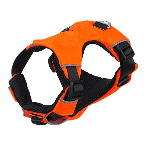 rely2016 Dog Harness Adjustbale Non Pull Pet Harness Soft Vest Padded Dog Body Harness (M, Orange) by rely2016