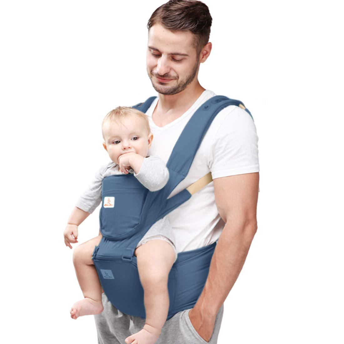Peacoco 抱っこ紐 ベビーキャリア おんぶひも おんぶ ヒップシート 新生児から3歳まで ベビースリング よだれカバー 通気 メッシュ 横抱き 多機能 抱っこひも 深蓝