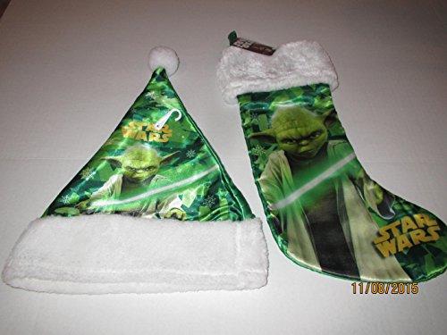 Disney YODA, Christmas Holiday Festive Hanging Decorations Gift Bags Star Wars Yoda Satin Plush Stocking, Star Wars YODA Santa Hat - Christmas Gift
