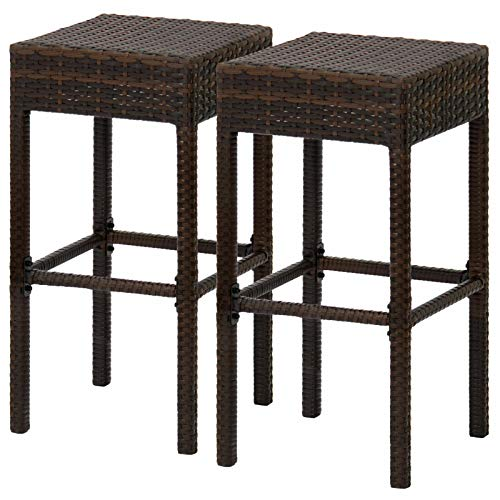 TimmyHouse Bar Kitchen Stools Chair Outdoor Patio Furniture Wicker Backless Brown Set 2PC (For Chairs Sale Nz Wicker)
