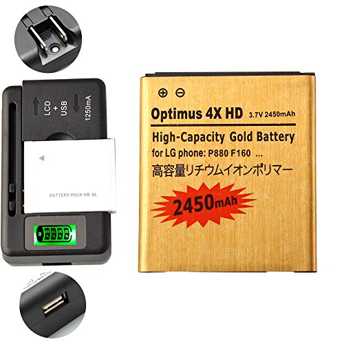 Gold Extended LG Escape P870 High Capacity Battery BL-53QH + Universal Battery Charger With LED Indicator For LG Escape P870 / LG Spirit 4G MS870 / LG Optimus L9 Optimus 4G P769 / LG Optimus L9 Optimus 4G MS769 / LG Optimus 4X HD P880 / LG Spectrum 2 VS930 2450 mAh (Lg P769 Cell Phone Battery)