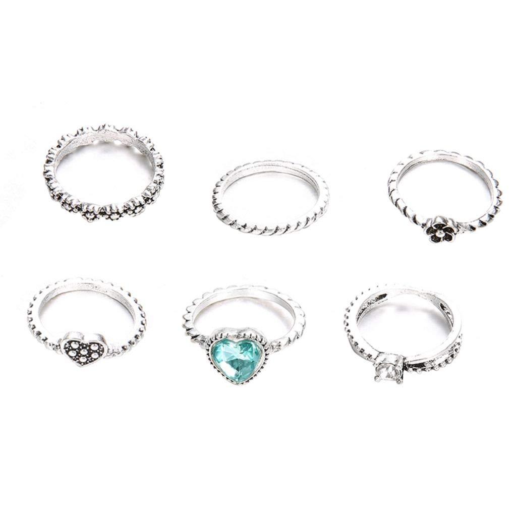 Gaweb 6Pcs Stacking Midi Knuckle Finger Rings Women Love Heart Rhinestone Jewelry - Antique Silver