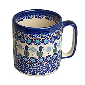 BCV Classic Boleslawiec, Polish Pottery Hand Painted Ceramic Mug, Large 400ml (U-006)