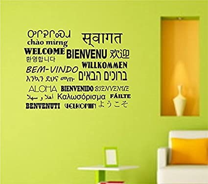 Amazon.com: Welcome in 20 Languages Decal Sticker Wall Art Home ...