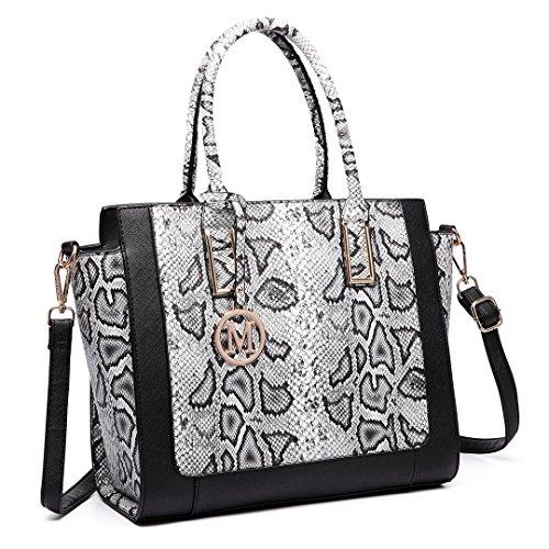 Miss LuLu Damentasche Bürotasche Elegant Handtasche Winged Tote Bag Groß PU-Leder Multifunktion (LT6626-Schwarz) DmwGrj