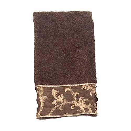Avanti Linens Damask Fringe Fingertip Towel, Mocha