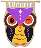Cheap Evergreen Burlap Autumn Owl Welcome House Flag, 28 x 44 inches