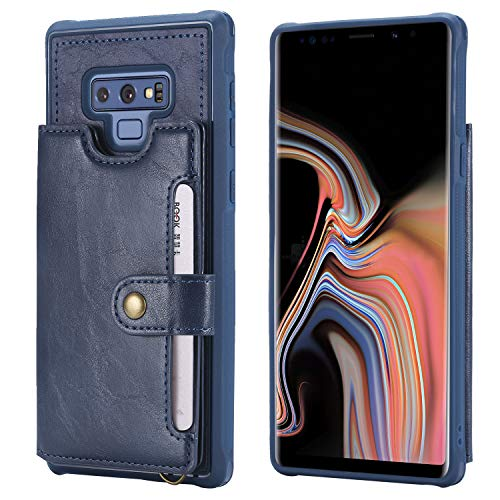 Note 9 Case Cover,Wallet Leather Blue Credit Card Money Holder Hand Strap Kickstand Protective Girl Men Boy Durable Shell for Samsung Galaxy Note9 6.4inches 128GB 256GB 2018