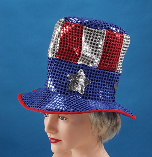 Loftus International USA Sequin Uncle Sam Top Hat, Red/White/Blue, One Size (Blue Sequin Top Hat)