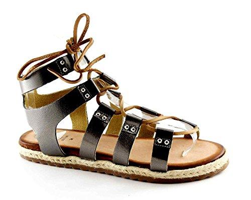 Gioseppo Catrina 40667 Sandalias de Cuero Marrón Esclava Metalizzato