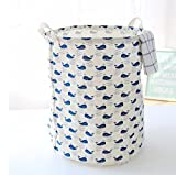 Lannu Collapsible Laundry Hamper Folding Cylindric Canvas Fabric Storage Basket Bins Cotton Linen Collection Organizer Clothes Basket for Nursery Kids Teenager Large Size, Strip (Blue)