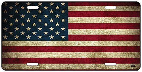(Rogue River Tactical Rustic USA Flag License Plate Novelty Auto Car Tag Vanity Gift American Patriotic US)
