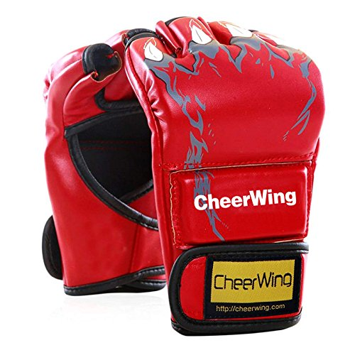 Cheerwing Half Finger Boxing Gloves MMA UFC Sparring Grappling Fight Punch Ultimate Mitts Leather Kickboxing Gloves - Ufc Leather