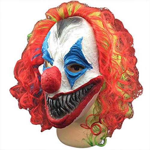 (Nuoka Pennywise Halloween Party Cosplay Creepy Funny Clown Mask with Colorful Hair (Style)