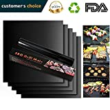 Urbanviva Grill Mat Set of 2, Black Non-Stick BBQ, Heavy Duty, Reusable, and Easy to Clean - Works on Electric Grill Gas Charcoal BBQ,15.75 x 13-Inch (2, Black)
