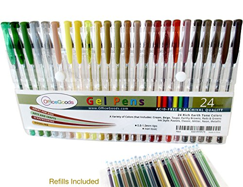 Gel Pen Earth Tone Set 24 Colors with Refills = 48! Perfect for Your Nature Scenes & Animals – Premium & Vivid Colors in Glitter, Metallic, Neon, Pastels & Classic - Fast Drying Ink!