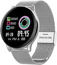 SmartWatch com Monitor Cardíaco, Monitor de Sono e Pressão Sanguínea para iOS e Android,prata/Faixa de aço ino