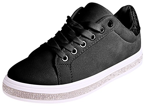 Enimay Womens Glitter Fashion Sneakers Lace up Shoes Black Size 8