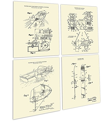 Gnosis Picture Archive Water Ski Decor Set of 4 Unframed Cream Art Prints of Water Skiing Equipment Invention Drawings Patents_WaterSki_CRM4A