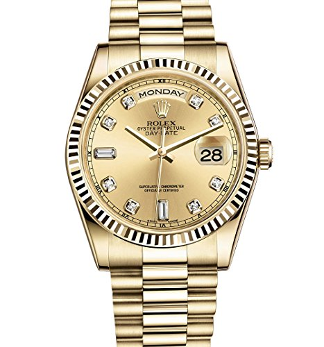 ROLEX DAY-DATE PRESIDENT 36MM YELLOW GOLD WATCH WITH DIAMOND DIAL FLUTED 118238 (Dial Gold Champagne President)