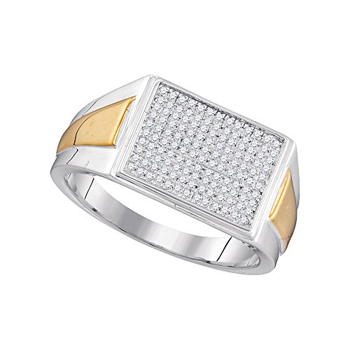 10kt Two-tone White Gold Womens Round Diamond Rectangle Cluster Ring 1/3 Cttw (I2-I3 clarity; J-K (Rectangle Two Tone Ring)