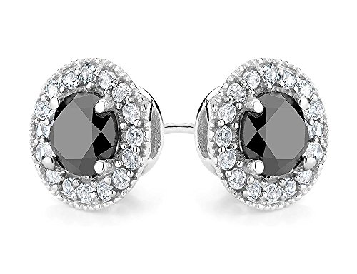 - 9/10 Carat (ctw I2-I3) Enhanced Black Diamond and Synthetic White Topaz Halo Stud Earrings in Sterling Silver