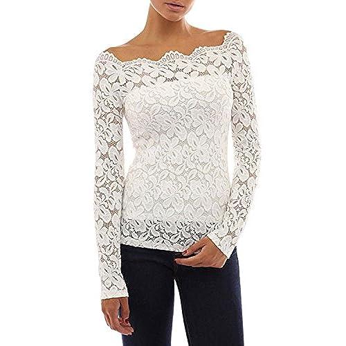 Tkiames Mujeres 2 en 1 Camisa de Encaje Floral Crochet Top Shoulder Off Lace Shirt