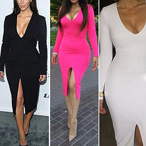 Ulike2 2015 Summer Sexy Womens Long Sleeve Bodycon Bandage Cocktail Midi Dress with Side Split (L, Black)