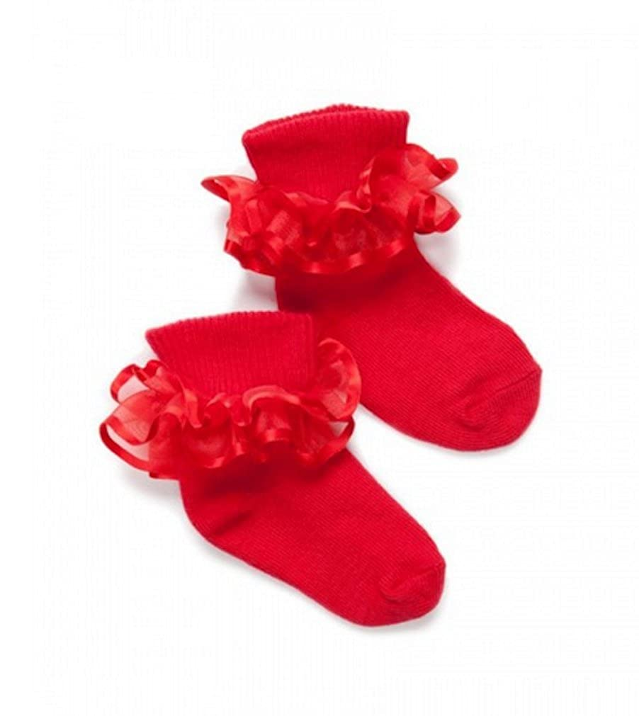 L C Boutique Little Girls Satin Ruffle Ankle Socks size to fit ages 1-11 Years