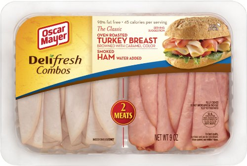 OSCAR MAYER LUNCH MEAT COLD CUTS COMBO DELI FRESH OVEN ROASTED TURKEY BREAST AND SMOKED HAM 9 OZ PACK OF (Oven Roasted Turkey Breast)