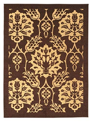 5-feet X 7-feet Non-Skid Rubber Backed Area Rug | Brown - Ivory Floral Modern Rectangle Rugs 5X7