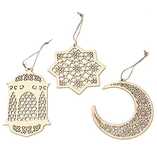 rative Pendant Islamic Eid al-Fitr Ornaments Moon Wind Light, Anise Star Wood Wooden Hanging Hollow Crafts for car, Home, Chandelier, Mirror Decoration ()