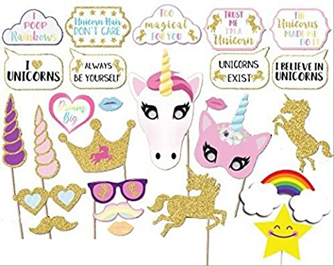 26PCS Glitter Unicorn Photo Booth Props Girl Birthday Party Supplies Decorations - Party Supplies